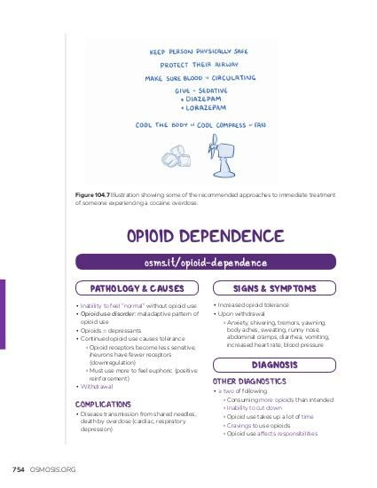 """Figure 104.7 Illustration showing some of the recommended approaches to immediate treatment of someone experiencing a cocaine overdose.  OPIOID DEPENDENCE osms.it/opioid-dependence PATHOLOGY & CAUSES ▪ Inability to feel """"normal"""" without opioid use ▪ Opioid use disorder: maladaptive pattern of opioid use ▪ Opioids = depressants ▪ Continued opioid use causes tolerance ▫ Opioid receptors become less sensitive, /neurons have fewer receptors (downregulation) ▫ Must use more to feel euphoric (positive reinforcement) ▪ Withdrawal  COMPLICATIONS  ▪ Disease transmission from shared needles, death by overdose (cardiac, respiratory depression)  754 OSMOSIS.ORG  SIGNS & SYMPTOMS ▪ Increased opioid tolerance ▪ Upon withdrawal ▫ Anxiety, shivering, tremors, yawning, body aches, sweating, runny nose, abdominal cramps, diarrhea, vomiting, increased heart rate, blood pressure  DIAGNOSIS OTHER DIAGNOSTICS  ▪ ≥ two of following ▫ Consuming more opioids than intended ▫ Inability to cut down ▫ Opioid use takes up a lot of time ▫ Cravings to use opioids ▫ Opioid use affects responsibilities"""