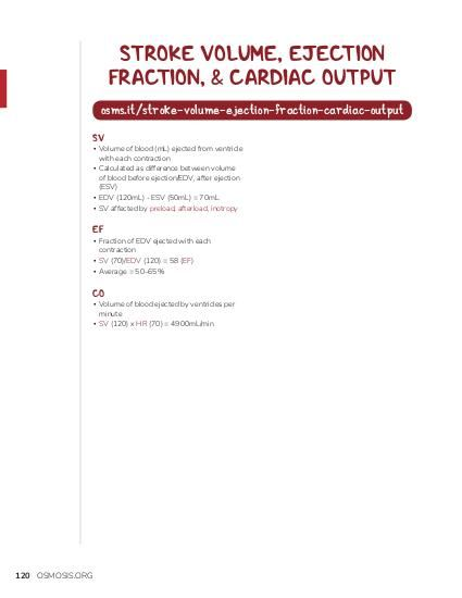 STROKE VOLUME, EJECTION FRACTION, & CARDIAC OUTPUT osms.it/stroke-volume-ejection-fraction-cardiac-output SV  ▪ Volume of blood (mL) ejected from ventricle with each contraction ▪ Calculated as difference between volume of blood before ejection/EDV, after ejection (ESV) ▪ EDV (120mL) - ESV (50mL) = 70mL ▪ SV affected by preload, afterload, inotropy  EF  ▪ Fraction of EDV ejected with each contraction ▪ SV (70)/EDV (120) = 58 (EF) ▪ Average = 50–65%  CO  ▪ Volume of blood ejected by ventricles per minute ▪ SV (120) x HR (70) = 4900mL/min  120 OSMOSIS.ORG