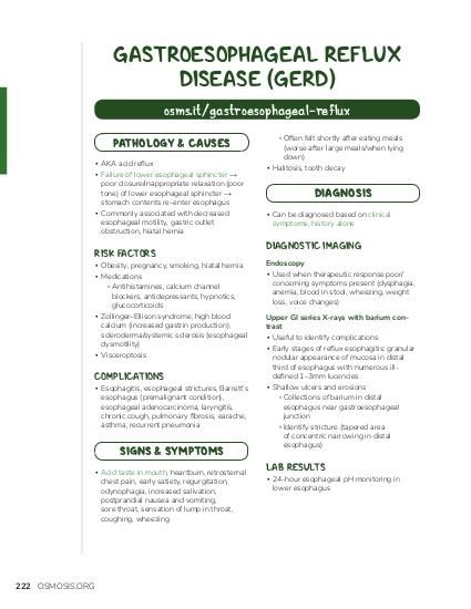 GASTROESOPHAGEAL REFLUX DISEASE (GERD) osms.it/gastroesophageal-reflux PATHOLOGY & CAUSES ▪ AKA acid reflux ▪ Failure of lower esophageal sphincter → poor closure/inappropriate relaxation (poor tone) of lower esophageal sphincter → stomach contents re-enter esophagus ▪ Commonly associated with decreased esophageal motility, gastric outlet obstruction, hiatal hernia  RISK FACTORS  ▪ Obesity, pregnancy, smoking, hiatal hernia ▪ Medications ▫ Antihistamines, calcium channel blockers, antidepressants, hypnotics, glucocorticoids ▪ Zollinger–Ellison syndrome, high blood calcium (increased gastrin production), scleroderma/systemic sclerosis (esophageal dysmotility) ▪ Visceroptosis  COMPLICATIONS  ▪ Esophagitis, esophageal strictures, Barrett's esophagus (premalignant condition), esophageal adenocarcinoma, laryngitis, chronic cough, pulmonary fibrosis, earache, asthma, recurrent pneumonia  SIGNS & SYMPTOMS ▪ Acid taste in mouth, heartburn, retrosternal chest pain, early satiety, regurgitation, odynophagia, increased salivation, postprandial nausea and vomiting, sore throat, sensation of lump in throat, coughing, wheezing  222 OSMOSIS.ORG  ▫ Often felt shortly after eating meals (worse after large meals/when lying down) ▪ Halitosis, tooth decay  DIAGNOSIS ▪ Can be diagnosed based on clinical symptoms, history alone  DIAGNOSTIC IMAGING Endoscopy ▪ Used when therapeutic response poor/ concerning symptoms present (dysphagia, anemia, blood in stool, wheezing, weight loss, voice changes) Upper GI series X-rays with barium contrast ▪ Useful to identify complications ▪ Early stages of reflux esophagitis: granular nodular appearance of mucosa in distal third of esophagus with numerous illdefined 1–3mm lucencies ▪ Shallow ulcers and erosions ▫ Collections of barium in distal esophagus near gastroesophageal junction ▫ Identify stricture (tapered area of concentric narrowing in distal esophagus)  LAB RESULTS  ▪ 24-hour esophageal pH monitoring in lower esophagus